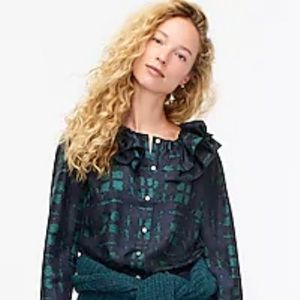 J CREW Collection Silk Ruffle Plaid Top Blouse